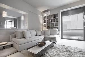 peinture gris perle et meubles blanc casse en deco mini studio With peinture murale gris perle