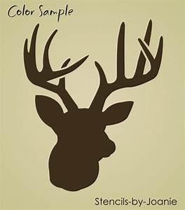 Rustic Animal STENCIL Deer Head Buck Antler Rack Hunt