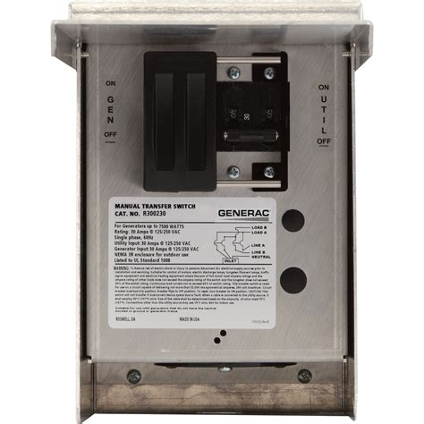 free shipping generac manual transfer switch 30 s 125 250 volts single phase