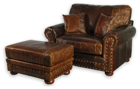Western Style Leather Oversized Chair