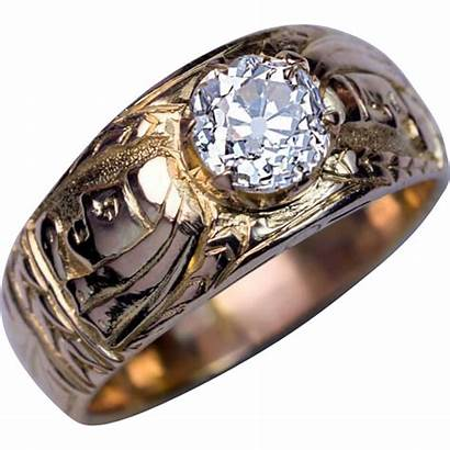 Gold 14k Diamond Antique Unusual Ring Chased