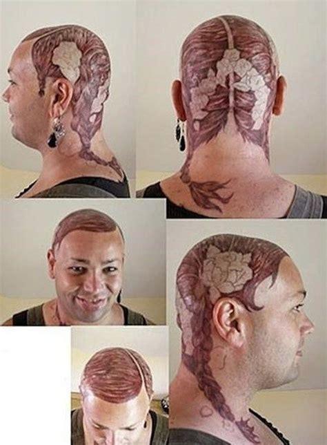 bald guy  pigtails tattoo hair fail bad toupee