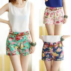 designer shorts 2014 new fashion designer flower pattern floral elastic high waist mini trouser