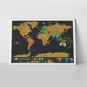 Carte Du Monde à Gratter Maison Du Monde : poster scratch map deluxe carte du monde gratter 82 x 59 cm noir or luckies ~ Teatrodelosmanantiales.com Idées de Décoration