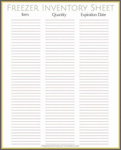 Inventory Freezer Sheet Printables Pantry Printable Spreadsheet
