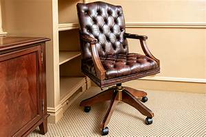 Vintage, Button, Tufted, Leather, Office, Chair, 112251