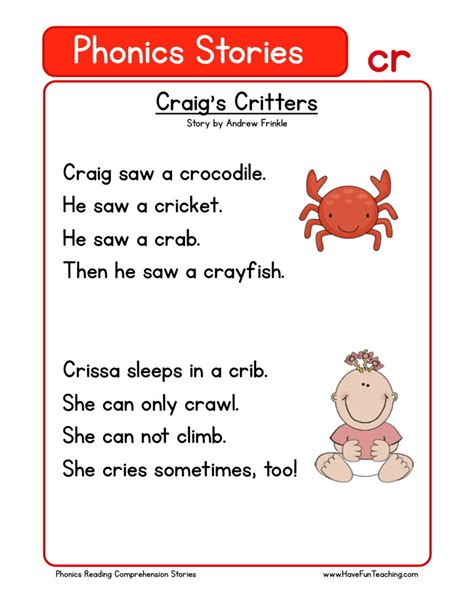 reading comprehension worksheet craigs critters