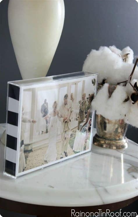 black  white stripe picture frame handmade christmas