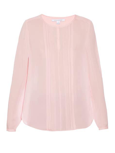 pink blouses lyst diane furstenberg meadow blouse in pink