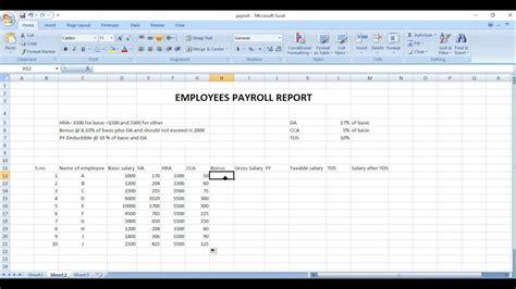 payroll sheet excel  hindi youtube