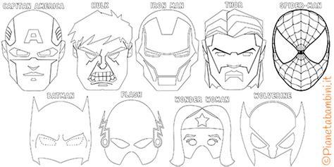 maschere  supereroi da colorare  bambini
