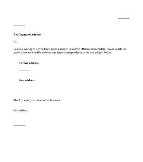 change  address letter sample template