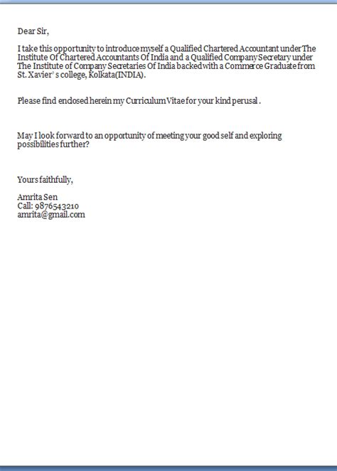 Kindly Find Enclosed My Resume For Your Perusal by Employment Cover Letter