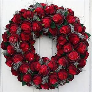 Rosen Für Türkranz Basteln : t rkranz xl mit roten rosen seidenblumen 60 cm rote ~ Lizthompson.info Haus und Dekorationen