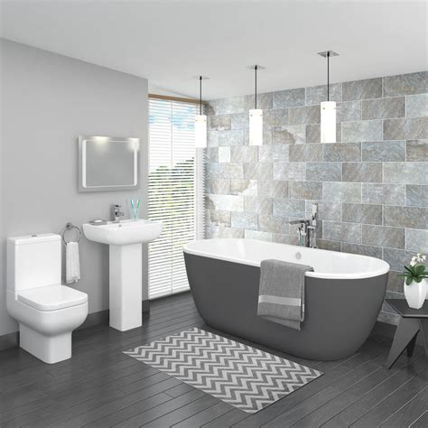 Spa Type Bathrooms by Pro 600 Grey Modern Free Standing Bath Suite