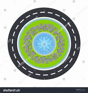 Road Circle Fountain Inside Top View Stock Vector ...