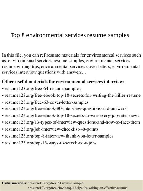 Environmental Services Resume Exles by Top 8 Environmental Services Resume Sles