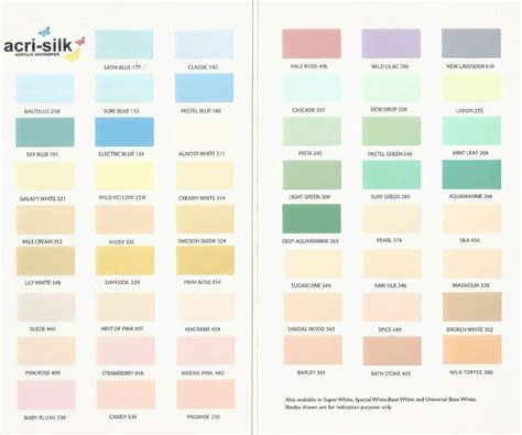 paints presents acrylic distemper shade card to beautify your home with various colors