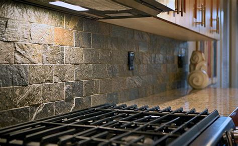 Slate Backsplash Ideas For The Kitchen : Subway Quartzite Slate Backsplash Tile Idea