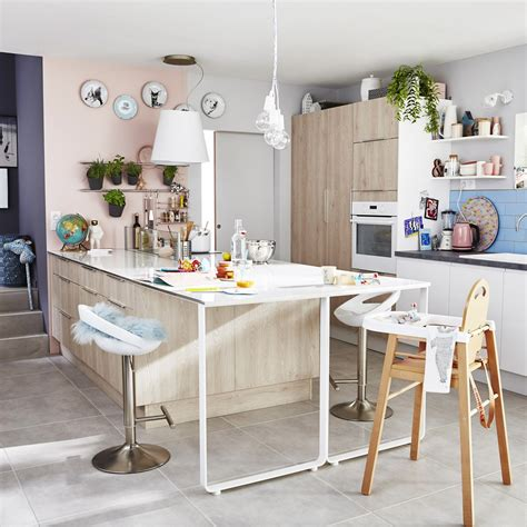 ilot cuisine leroy merlin meuble de cuisine décor bois delinia nordik leroy merlin