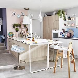 meuble de cuisine decor bois delinia nordik leroy merlin With idee deco cuisine avec nordic scandinave