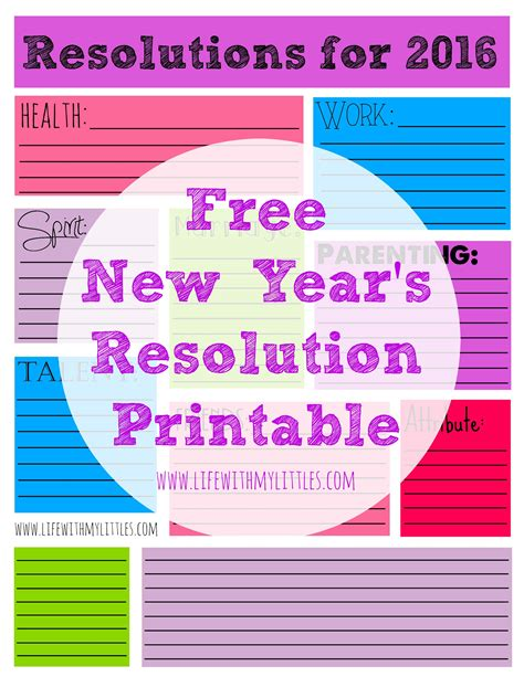 new year resolutions printable kid free new year s resolution printable for 2016