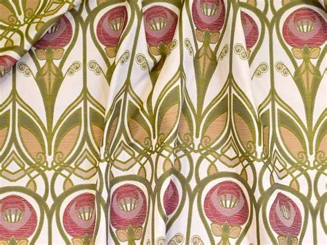 Art Nouveau Upholstery Fabric Red