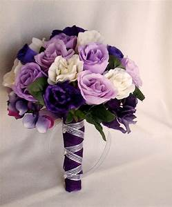 Silk Purple Rose Bridal Bouquets Package Custom for Helen