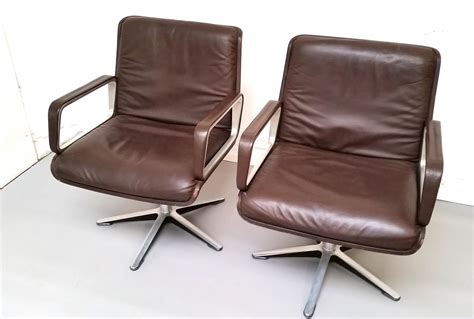 delta 2000 brown leather office chair by wilkhahn set of