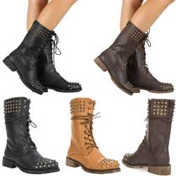 womens boots fashion womens combat studded boot lace up fashion boots shoes size ebay