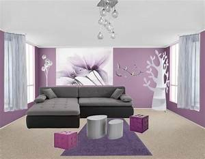 Deco salon violet et gris for Decoration salon en gris