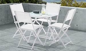 Petite Table De Jardin : ensemble de jardin blanc pas cher 4 places 1 table et 4 ~ Dailycaller-alerts.com Idées de Décoration
