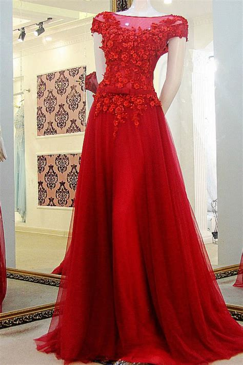cap sleeve red prom dressappliques   shoulder tulle