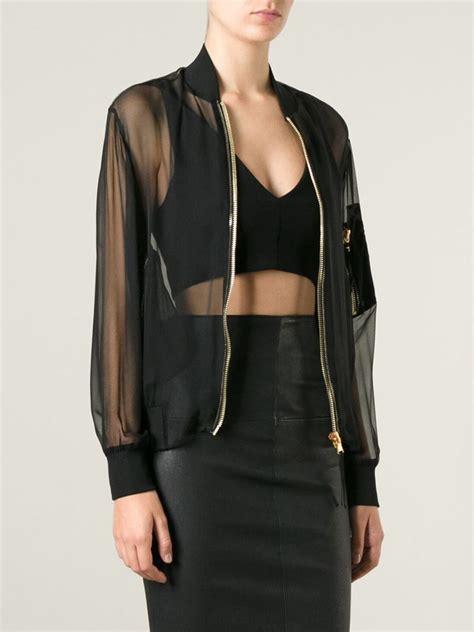 sheer jacket lyst moschino sheer bomber jacket in black