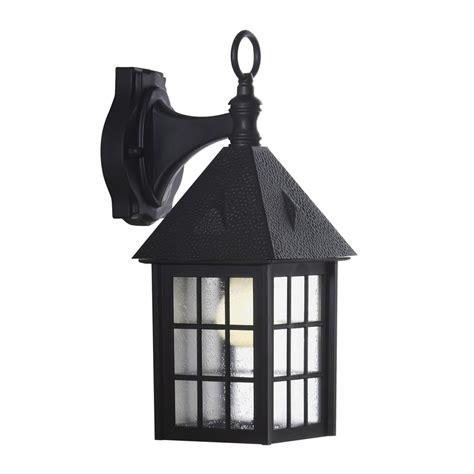 shop portfolio 15 12 in h black outdoor wall light at