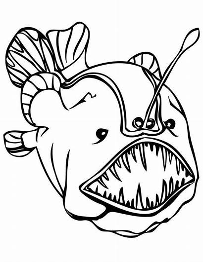 Coloring Sea Fish Deep Pages Creatures Angler
