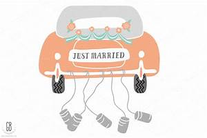 Just married wedding clip art ~ Illustrations on Creative ...