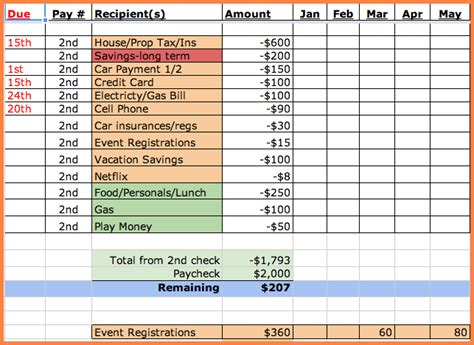 monthly bills template 8 bill spreadsheet template excel spreadsheets