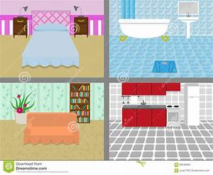 A House With Rooms Stock Vector Illustration Of Wallpaper