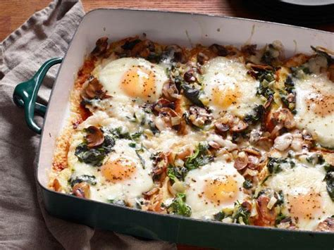 mushroom spinach baked eggs recipe food network kitchen