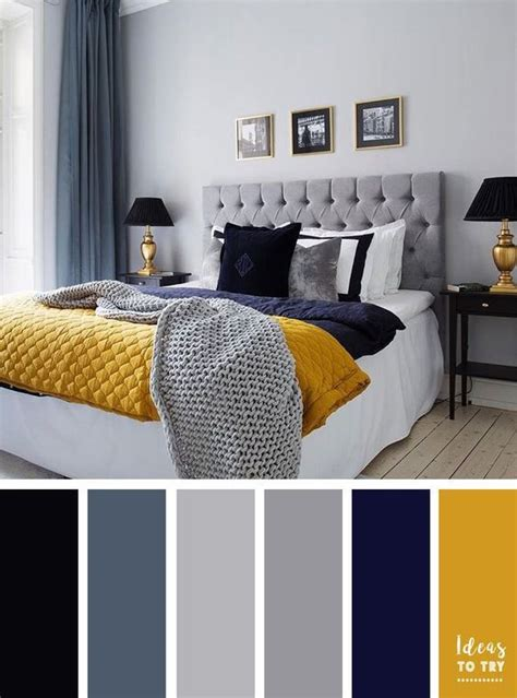 Bedroom Color Schemes Yellow by Grey Navy Blue And Mustard Color Inspiration Yellow And