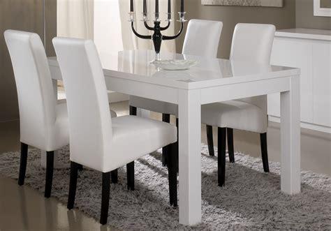 impressionnant table blanche laqu 233 e avec rallonge et indogate salle manger plete blanc laque