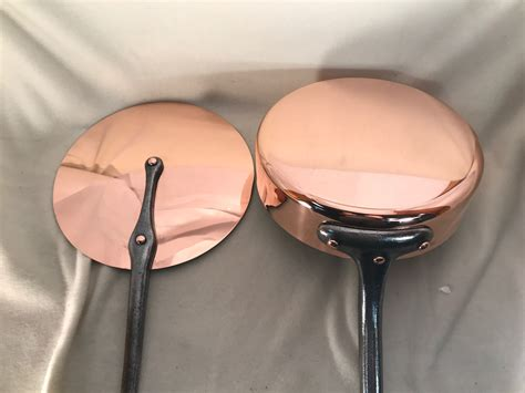 mm thick french marked villedieu   copper tin lined saute pan  lid rocky