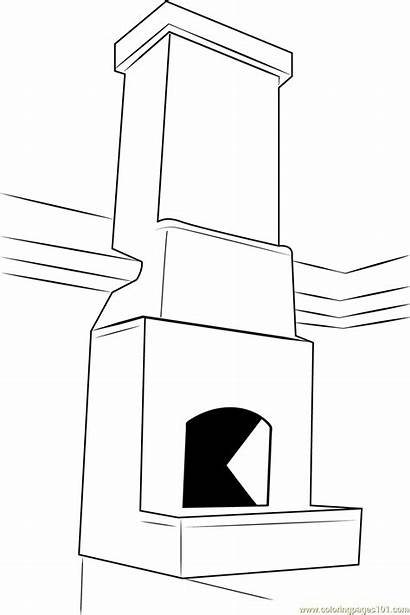 Coloring Fireplace Chimney Stone Pages Coloringpages101