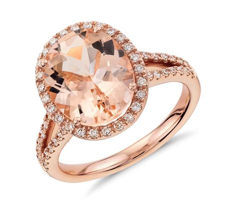 Morganite And Diamond Ring In 14k Rose Gold (11x9mm