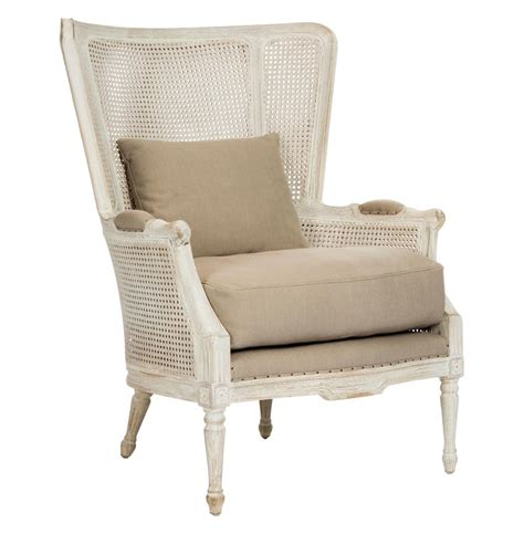 white wingback chairs archdale style caned back antique white wing salon