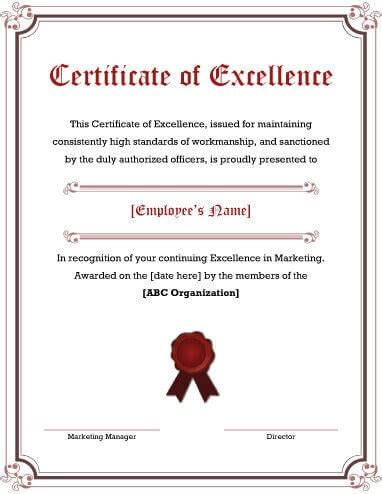 certificate  excellence certificates templates