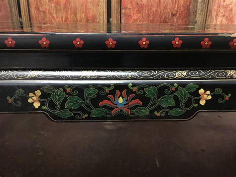 The foundation of the table is skillfully hand crafted by chinese artisans. 1950s Chinese Black Lacquer Painted Dragon Coffee Table or ...