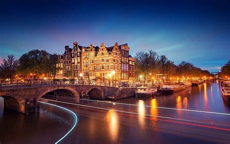 Amsterdam Niederlande Holland Stadt Nacht Brücke Kanal