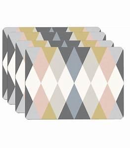 Set de Table Design en Liège Stratifié Multicolore Arlequin Set de 4